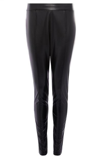 Schwarze Leggings mit Biesen