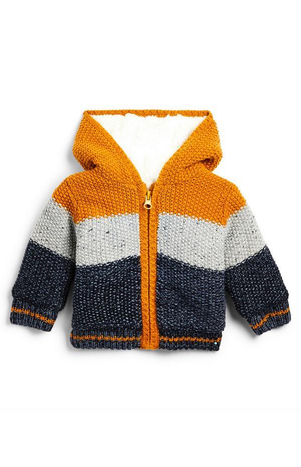 Chaqueta color mostaza, gris y azul marino forrada de borrego con capucha y cremallera para bebé niño