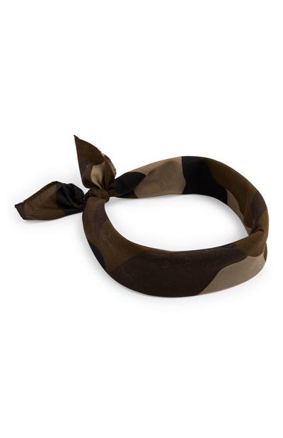 Kaki bandana met camouflageprint