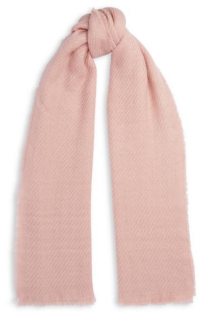 Poederroze geweven sjaal