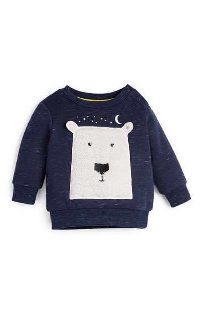Sweater met ronde hals en ijsbeer voor babyjongens