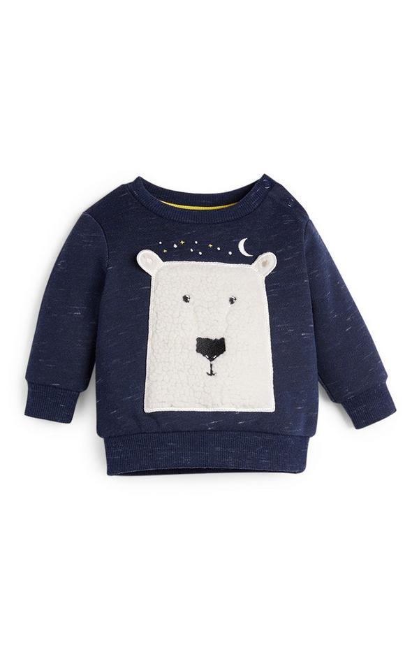 Pull à col rond ours polaire bébé garçon