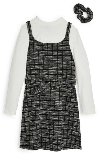 Older Girl 2-In-1 Monochrome Boucle Dress With Scrunchie