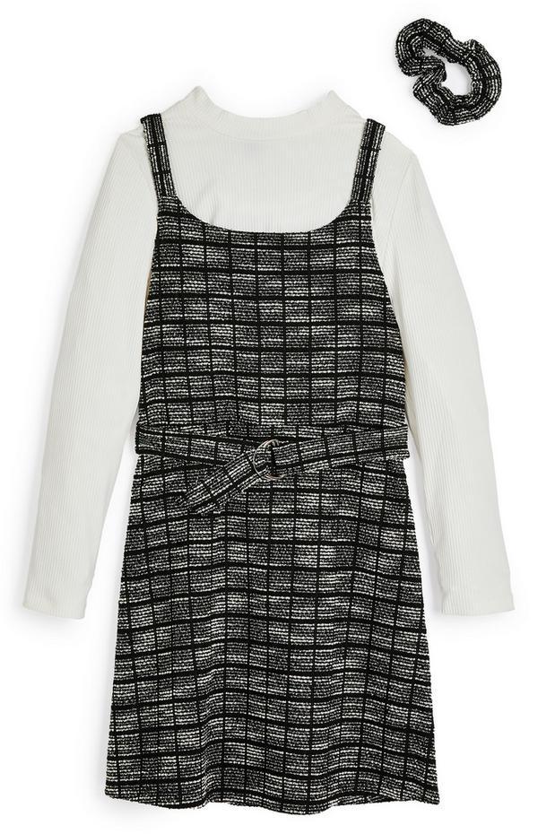 2-in-1 zwart-witte bouclé jurk met haarwikkel voor meisjes