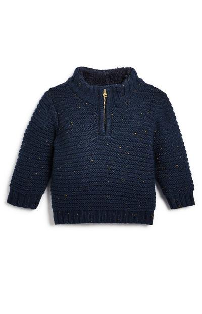 Baby Boy Navy Funnel Neck Jumper