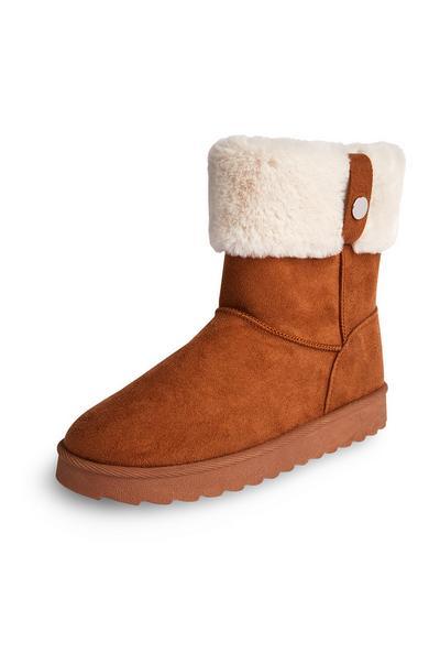 Faux Shearling Tan Turndown Boots