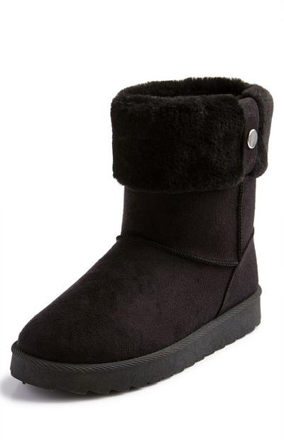 Black Faux Fur Turndown Boots