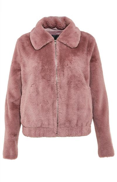 Blush Pink Faux Fur Bomber Coat