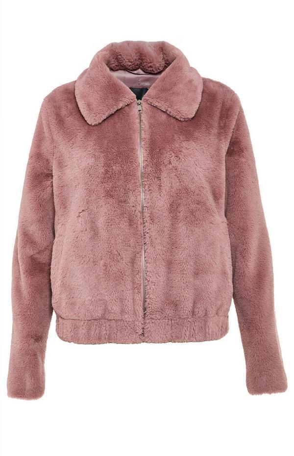 Blush Pink Faux Fur Bomber Coat