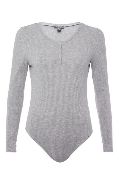 Grey Long Sleeve Bodysuit
