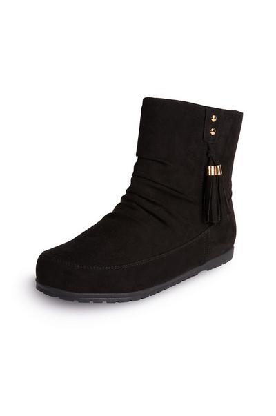 Black Side Tassel Boots