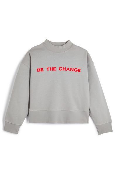 """Grauer, lässiger """"Be The Change"""" Rundhalspullover (Teeny Girls)"""