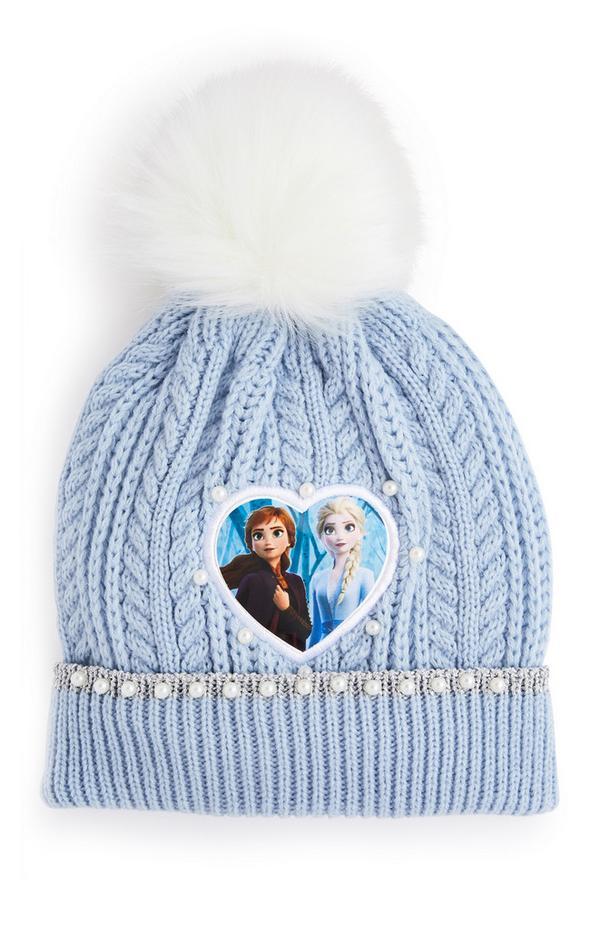 Blue Pompom Frozen Beanie Hat