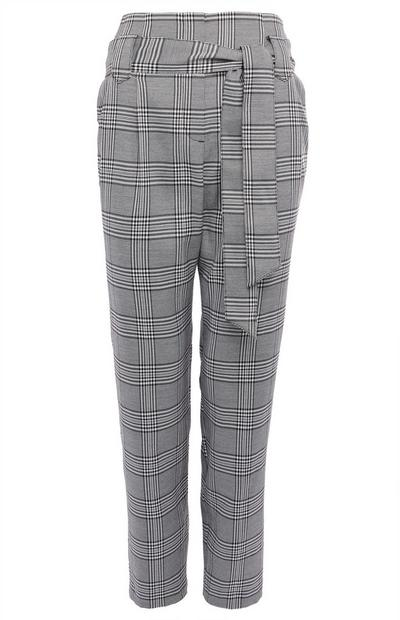 Grey Check Belted Trousers