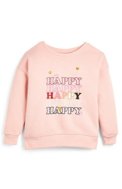 Younger Girl Pink Happy Crew Jumper