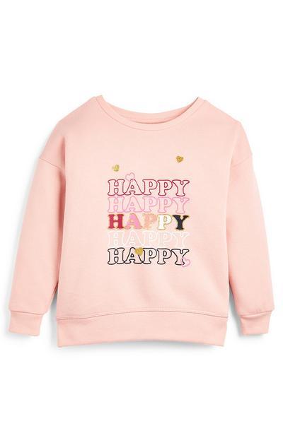 Jersey de cuello redondo rosa con texto «Happy» para niña pequeña