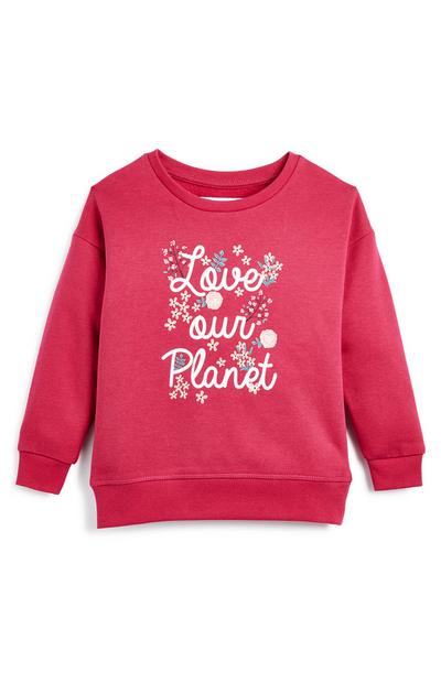 Younger Girl Love Our Planet Crew Jumper