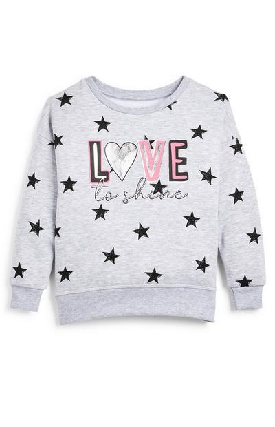 Felpa girocollo grigia con stelle e scritta Love To Shine da bambina