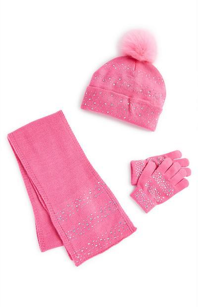 Conjunto de invierno rosa con strass