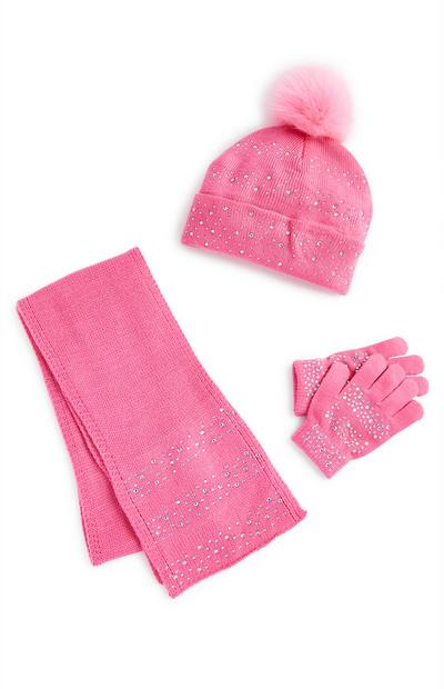 Pink Rhinestone Winter Set