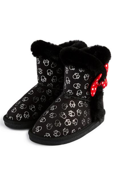 Younger Girl Black Minnie Mouse Snug Booties