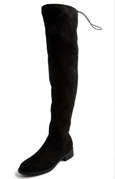 Schwarze, kniehohe Stiefel in Wildleder-Optik