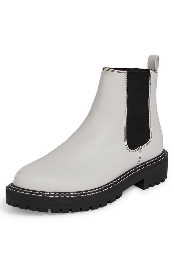 Schwarz-weiße Chelsea-Boots mit dicker Sohle
