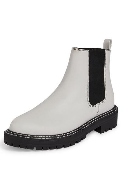 White And Black Chunky Chelsea Boots