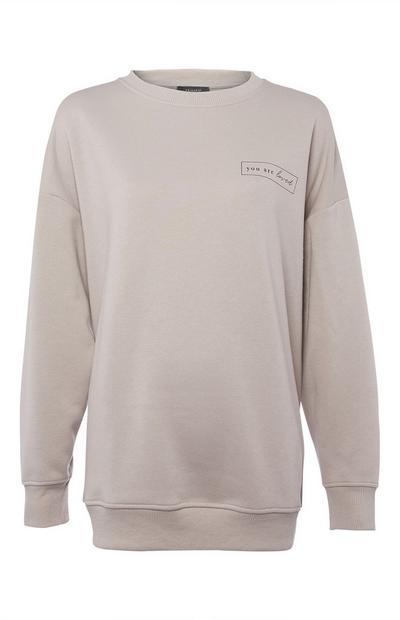 Sweat-shirt beige oversize à col rond