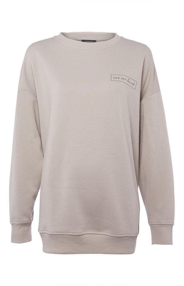 Beige oversized sweater met ronde hals