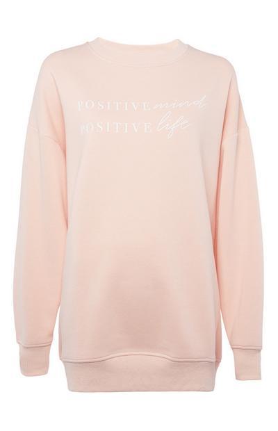 Peach Oversized Crew Neck Sweatshirt