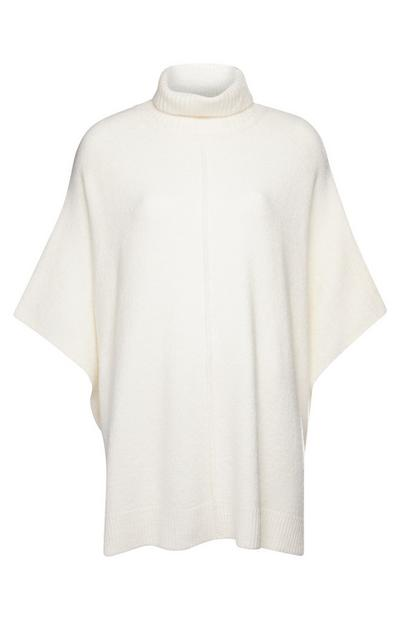 White Roll Neck Cape
