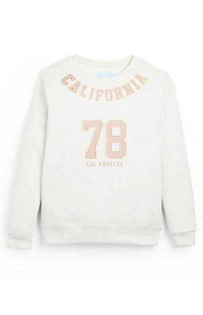 Older Girl White California Crew Jumper