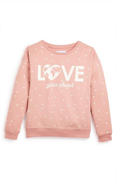 Older Girl Pink Polka Love Your Planet Crew Jumper