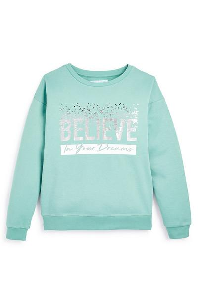 Older Girl Turquoise Believe In Your Dreams Crew Jumper