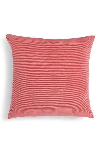 Pink Ribbed Velvet Cushion Cover