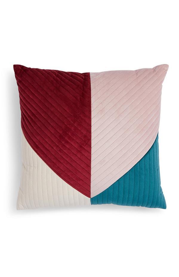 Colour Block Velvet Cushion