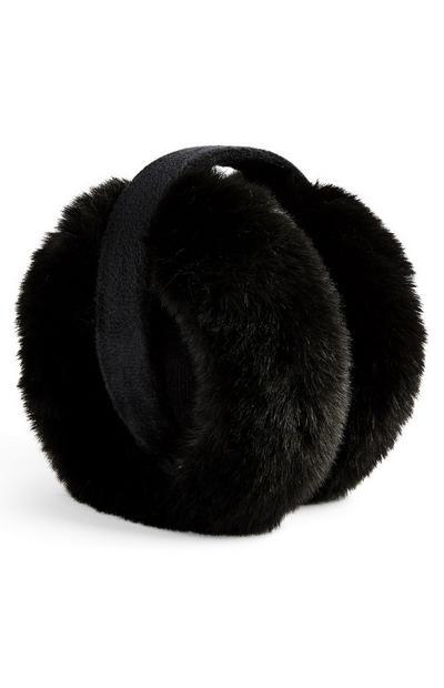 Black Faux Fur Earmuffs
