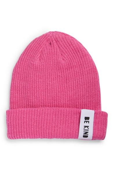 Pink Sustainable Ribbed Beanie