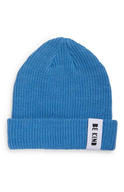 Blue Sustainable Ribbed Beanie