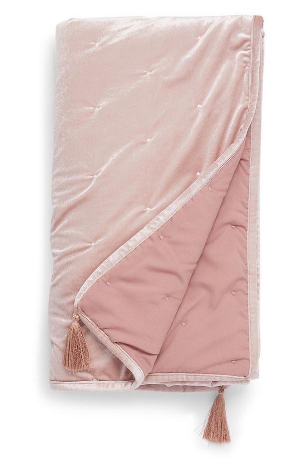 Colcha veludo cor-de-rosa