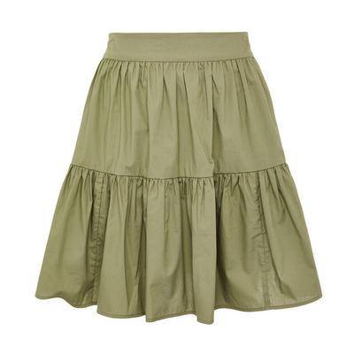 Green Poplin Tiered Mini Skirt