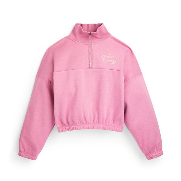 Rosafarbener Pullover mit Reißverschlusskragen (Teeny Girls)