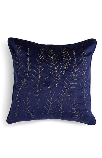Navy Feather Embroidered Cushion Cover