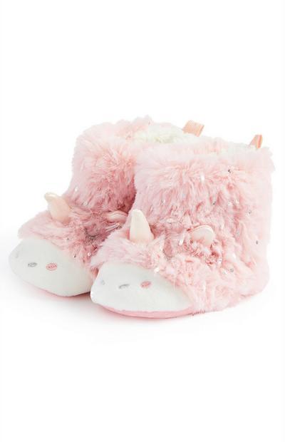 Rožnati puhasti škorenjčki v obliki samoroga za dojenčice