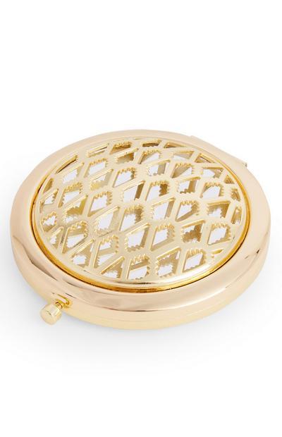 Espejo de bolsillo dorado