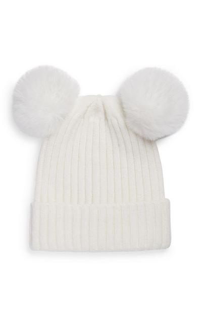 Baby Girl Double Fur White Pom Pom Beanie