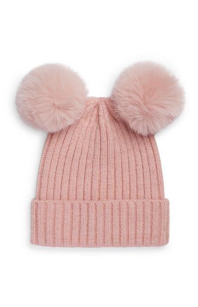 Baby Girl Double Fur Pom Pom Beanie