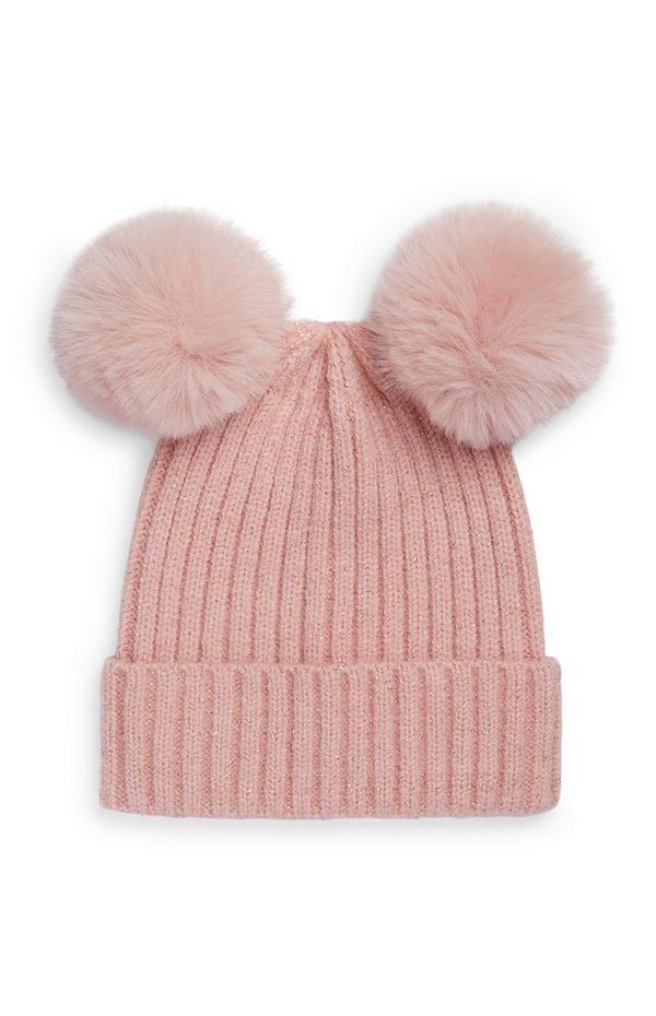 Baby Girl Double Fur Pompom Beanie