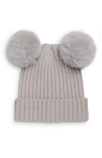 Baby Girl Double Fur Grey Pom Pom Beanie